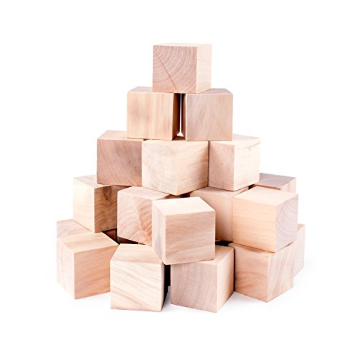 Unfinished Wood Blocks Cubes for Arts & Crafts Toy Projects, Mini Baby Size Puzzle Making Set (24 (Wood Baby Blocks)