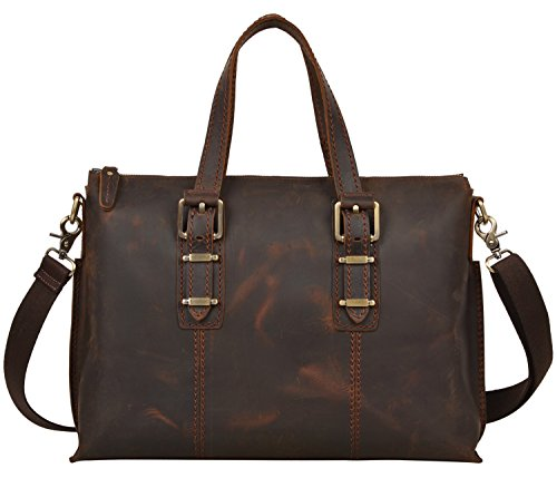 ALTOSY Men Genuine Leather Business Briefcase Shoulder Bag Messenger Laptop 2322-1 (Brown) by ALTOSY