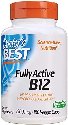 Doctor s Best Fully Active B12 1500 Mcg, Non-GMO, Vegan, Gluten Free, 180 Veggie Caps, 180Count