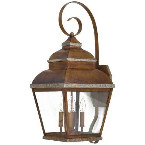 The Great Outdoors GO 8267 4 Light Outdoor Wall Sconce from the Mossoro Collecti, Mossoro Walnut with Silver Highlights Silver Highlights Outdoor Sconce