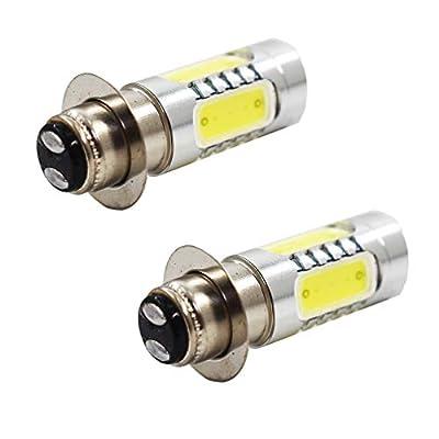LABLT 2pcs Xenon White 6000K H6M P15D ATV Motorcycle COB LED Headlight Bulbs: Automotive