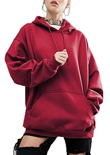 Sweats Chemisiers Shirts Capuche Automne Shirts Sweat Unie Hiver Legendaryman Vin Pulls Rouge Manches Hauts Lache Longues Casual Couleur Pullover Tops Femmes Blouse Fashion wTtWRqA