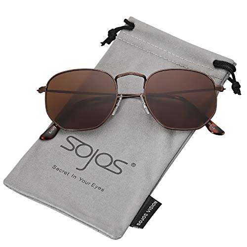 SOJOS Small Square Polarized Sunglasses for Men and Women Polygon Mirrored Lens SJ1072 with Coffee Frame/Brown Polarized Lens