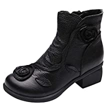 Women Leather Boots Retro Ethnic Style Martin Boot Hand-Stitched Flowers Shoes