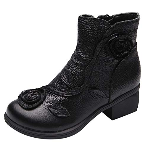 AgrinTol Women Ethnic Style Martin Boots Hand-Stitched Flowers Shoes Leather Retro Boots