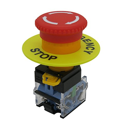 TWTADE/AC 440V 10A Red Mushroom Emergency Stop Push Button Switch 22mm NO NC Pushbutton Switches(Quality assurance for 3 years)LA38-11ZS