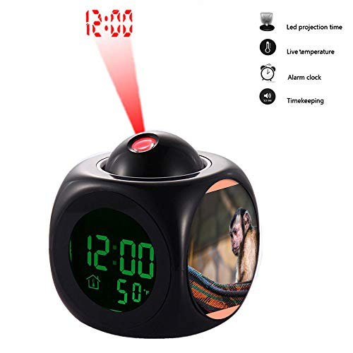 grilsight3 Projection Alarm Clock, Digital LCD Voice Talking Function, Alarm/Snooze/Temperature Display,LED Wall/Ceiling Projection 422.Brown Monkey on Red and Black Hammock(Black)
