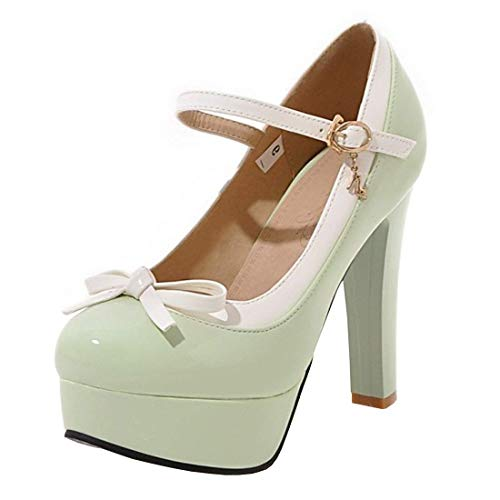 Women's High Heel Platform Mary Jane Shoes Bow Ankle Strap Pump Court Shoes(Green-4 M US) ()