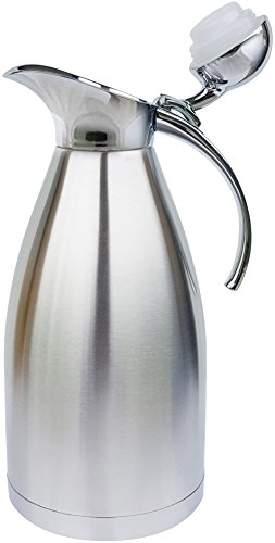 Thermal Coffee Carafe by PYKAL 68Oz/2 liter, HEAVY-DUTY, LAB TESTED 24HR140F, 2YR Warranty, FREE Long Handle Brush, Vacuum Insulated, Coffee Pot, Satin Finish