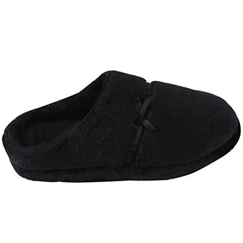 Pantofole Da Casa Pantofole Da Casa Per Donna, Pantofole Flanella Spessa E Calda In Camoscio Nero Soffice