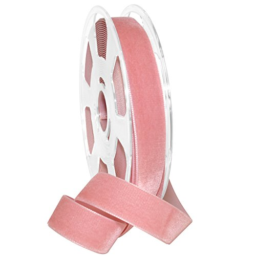 England Pink Rose - Morex Ribbon Ribbon, Nylon, 7/8 inch by 11 Yards, Dusty Rose, Item 01225/10-623 Nylvalour Velvet, 7/8