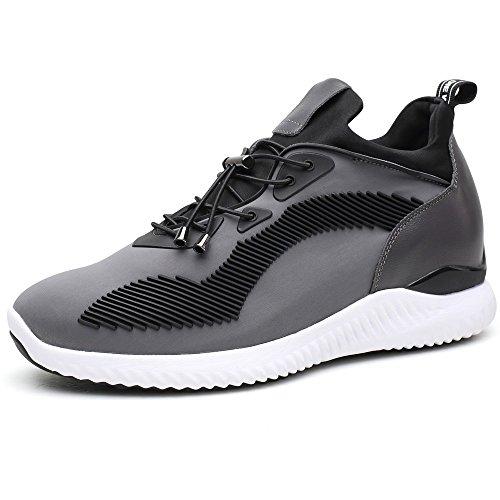 CHAMARIPA Ascenseur Sneakers Sports Chaussures Légères Décontractées avec Talon de Levage Caché Pour Homme Noir Bleu Gris -7cm Taller-H71C62V012D Gris