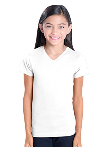 LAT Apparel Girls 100% Cotton Jersey T-Shirt with Ribbed Collar [Large] White (Lat Ribbed T-shirt)
