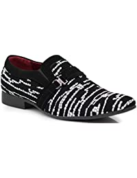 Plum06 Mens Dress Zebra Print Loafers Elastic Slip on with Buckle Fashion Shoes Black
