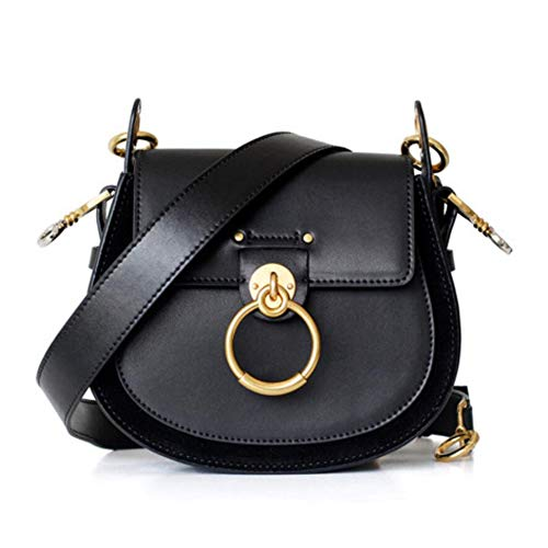 ACTLURE Women O Loop Small Leather Saddle Shaped crossbody Handbag Purse (Black) ()
