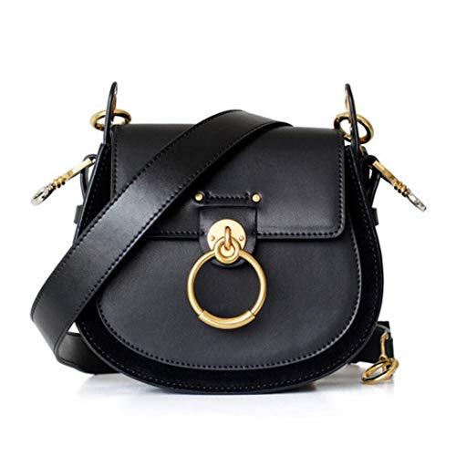 ACTLURE Women O Loop Small Leather Saddle Shaped crossbody Handbag Purse - Suede Bag Designer