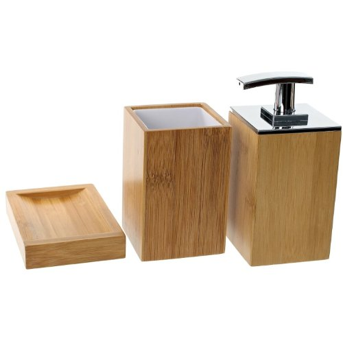 Gedy PO281-35 Potus Wooden Bathroom Accessory Set, Natural/Bamboo