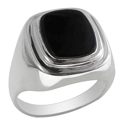Gents Solid 925 Sterling Silver Natural Onyx Mens Signet Ring - Size 11.75 - Sizes 6 to 13 Available ()