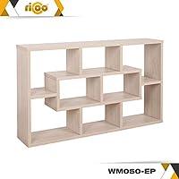 RICOO Wall Shelves Bookcase WM050-PL Wood 2 3 Tier Floating Book Storage Hanging Rack Organiser Unit Racking Shelf//Platinum Grey