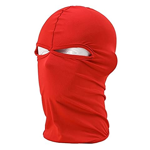 Red Ski Mask Winter Warm Snowboard Face Mask Bandana Neck Cover 2 Holes - Tube Red Filter
