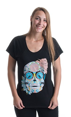 Dia de los Muertos | Mexico Day of the Dead Ladies' Flowy Open Neck T-shirt