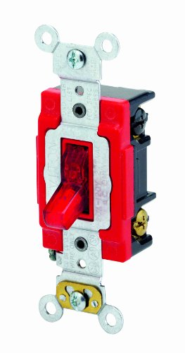 Amp, 120 Volt, Toggle Pilot Light, Neutral Double-Pole AC Quiet Switch, Extra Heavy Duty Spec Grade, Self Grounding, Back and Side Wired, Red ()