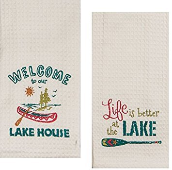 Designs Lake House Embroidered Kitchen Towels Set - Hand Towels with Boats and Paddles, Outdoor Camping Boating Dish Cloths
