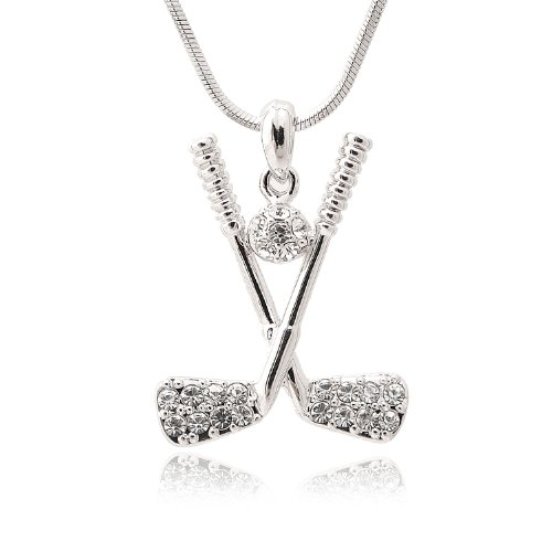 Spinningdaisy Silver Plated Crystal Golf Club and Clear Golf Ball Necklace -