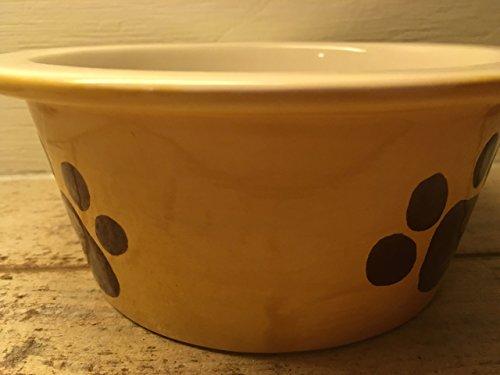 USA made cute dog paw print food or water bowl (Paw Prints Ceramic Bowl)