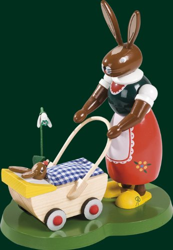 Hare + buggy 20 cm Easter bunny Easter bunny Easter Easter decoration ration ore mountains NEW