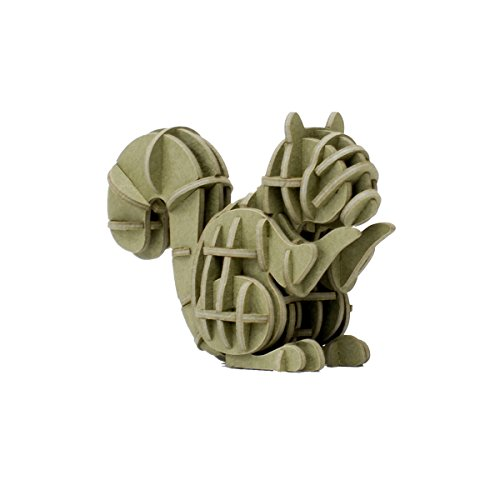 JIGZLE Squirrel 3D Paper Puzzle DIY Kit - Laser Cut Miniature ()