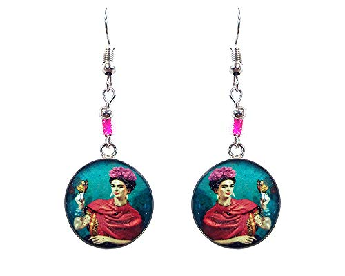 Mia Jewel Shop Frida Kahlo Famous Artist Round Silver Dangle Earrings (Butterfly/Teal)