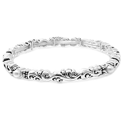Emulily Designer Texture Stretch Bracelet Stackable with Pearl