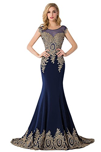 MisShow Embroidery Lace Long Mermaid Formal Evening Prom Dresses,Navy,Size (Stretch Prom Formal Dress)