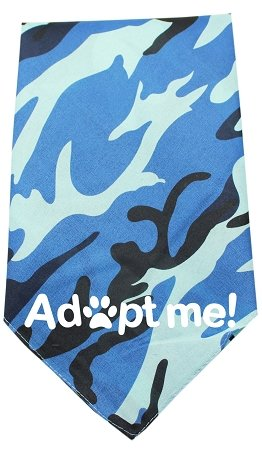 Mirage Pet Products Adopt Me Screen Print Bandana, Blue Camo