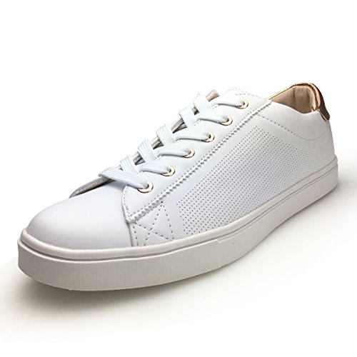 XiaoYouYu Women's Patent Lace up PU Leather Sneakers Comfortable Skateboard Shoes AAX003 White, 6.5 B(M) US Review