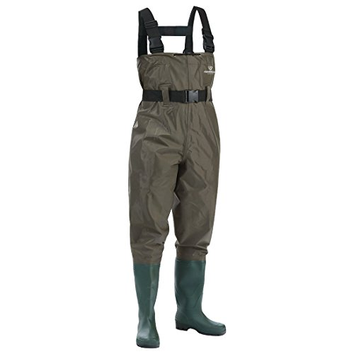 FISHINGSIR Chest Fishing Waders Hunting Bootfoot with Wading Belt Waterproof Insulated Breathable Nylon and PVC Cleated Wading Boots for Men Women (Chest Neoprene Nylon Wader)