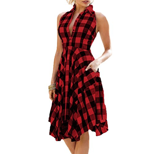 Women Tunic Tops Dresses Lady Plaid Button Irregular Hem Sleeveless Evening Party Dress (M, Red)