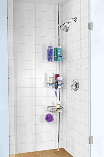 Home Basics 3 Tier Tension Rod Chrome Shower Storage ()