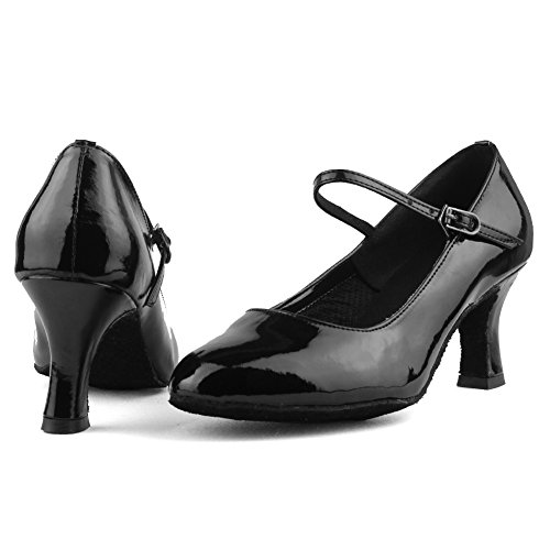 Roymall WZJ Model 8 B 7 Ballroom US Leather Dance Womens Salsa Tango Latin Performance Shoes LM Shoes Black M 7Pr1n7wqF