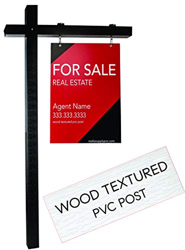New | Wood Look Vinyl Real Estate Sign Post - 1000's Installed | Hang for Sale Signs | Commercial Grade Yard Sign Holder | PVC Textured Wood Appearance | 6 ft Tall | Easy to Install | Black