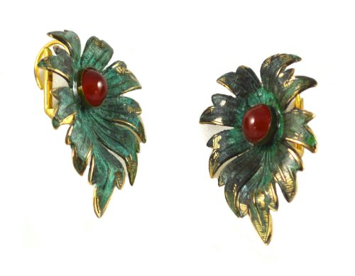 Verdigris Patina Tropical Leaf Earrings - Carnelian
