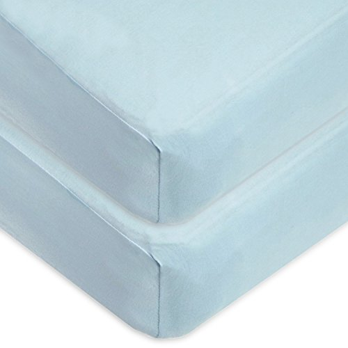 American Baby Company 2 Pack 100% Cotton Value Jersey Knit Fitted Crib Sheet for Standard Crib and Toddler Mattresses, Blue, for Boys and Girls