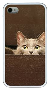 poetic iphone 4S cases Hide the cat pc White for Apple iPhone 4/4S
