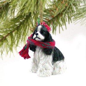 1 X Cocker Spaniel Miniature Dog Ornament - Parti Black - Cocker Spaniel Christmas Ornament