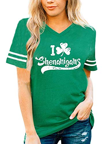 Retro Style Shamrock T-Shirt Ringer Distressed Vintage Green Irish St Patricks Day Womens Ireland Tee (Kelly Green 2, XL)