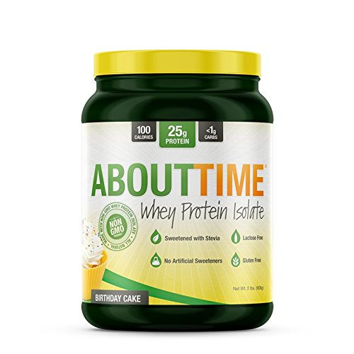 About Time Whey Isolate Protein, Non-GMO, All Natural, Lactose/Gluten Free, 24g of Protein Per Serving (Birthday Cake - 2 Pounds)