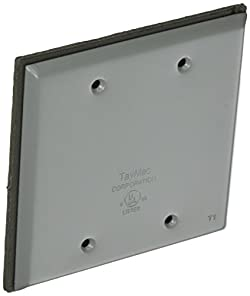 TayMac BC200S Weatherproof Metallic Device Cover, Blank, Two Gang, Gray