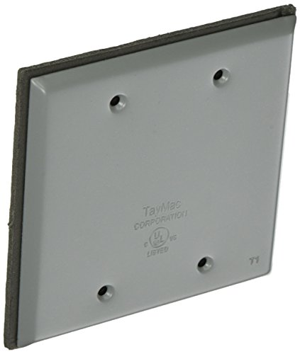 (TayMac BC200S Weatherproof Metallic Device Cover, Blank, Two Gang, Gray)