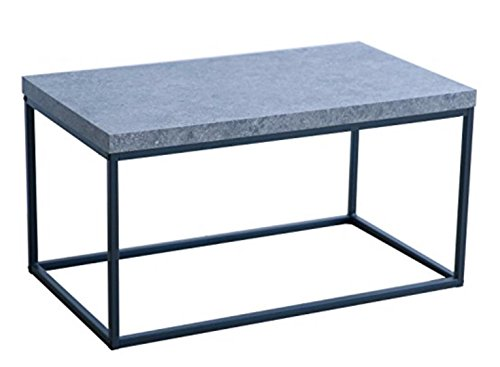 Bricraft Coffee Table for Living Room Metal Casual Cocktail Tables Rectangular Cement Top by Bricraft